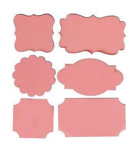 Lousa para Personalizar Adesiva Rosa - 06 unidades - Cromus - Rizzo Festas