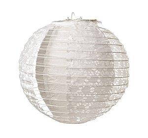 Lanterna de Papel Rendado Branco 20cm - 01 unidade - Cromus - Rizzo Festas