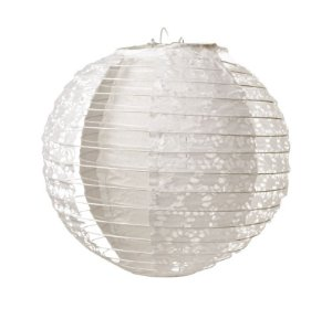 Lanterna de Papel Rendado Branco 35cm - 01 unidade - Cromus - Rizzo Festas