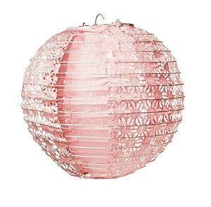 Lanterna de Papel Rendado Rosa 25cm - 01 unidade - Cromus - Rizzo Festas