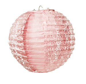 Lanterna de Papel Rendado Rosa 30cm - 01 unidade - Cromus - Rizzo Festas