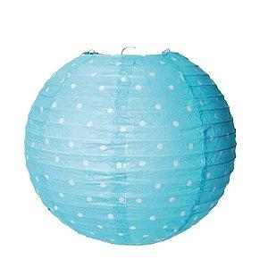 Lanterna de Papel Poá Azul 35cm - 01 unidade - Cromus - Rizzo Festas