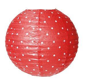 Lanterna de Papel Poá Vermelho 35cm - 01 unidade - Cromus - Rizzo Festas
