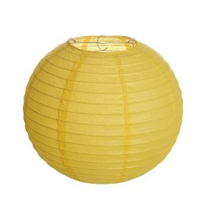 Lanterna de Papel Amarelo 25cm - 01 unidade - Cromus - Rizzo Festas