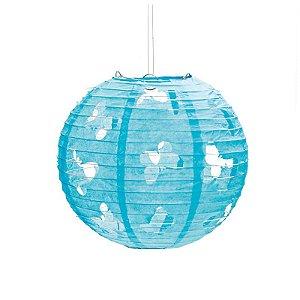 Lanterna de Papel Borboleta Azul 30cm - 01 unidade - Cromus - Rizzo Festas