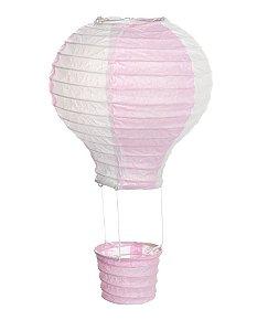 Lanterna de Papel Balão Rosa e Branco M 25x25cm - 01 unidade - Cromus - Rizzo Festas