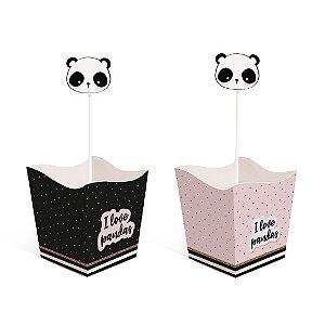 Kit Cachepot c Pick Festa Panda - 4 unidades - Cromus - Rizzo Festas