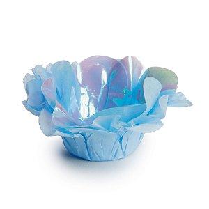 Forminha de Seda Nacarada Azul Festa Sereia - 40 unidades - Cromus - Rizzo Festas