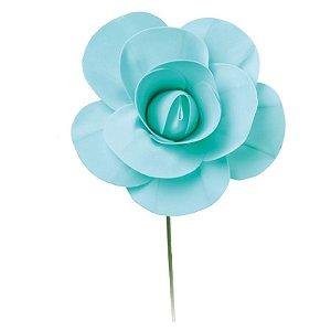 Flor Decorativa Turquesa 15cm - 01 unidade - Cromus - Rizzo Festas