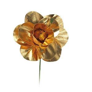 Flor Decorativa Ouro 15cm - 01 unidade - Cromus - Rizzo Festas