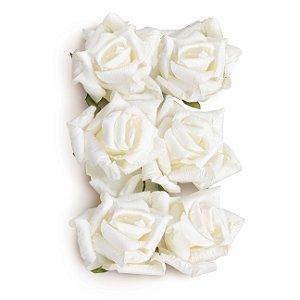 Flor Decorativa de Papel Branco 6,5cm - 06 unidades - Cromus - Rizzo Festas