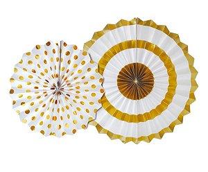 Leque Decorativo de Papel Composê Branco e Ouro - 02 unidades - Cromus - Rizzo Festas
