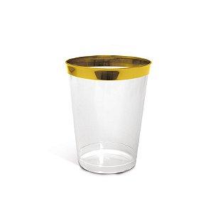 Copo com Borda Ouro P 200ml - 06 unidades - Descartáveis de Luxo - Cromus - Rizzo Festas