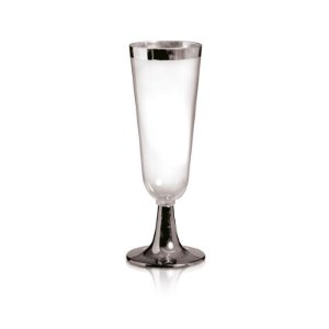 Taça de Champagne com Borda e Base Prata 120ml - 06 unidades - Descartáveis de Luxo - Cromus - Rizzo Festas