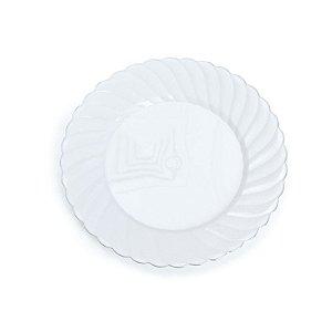 Prato Branco com Borda Fio Prata P 18cm - 06 unidades - Descartáveis de Luxo - Cromus - Rizzo Festas