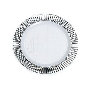 Prato Branco com Borda Prata P 18cm - 06 unidades - Descartáveis de Luxo - Cromus - Rizzo Festas