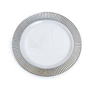 Prato Branco com Borda Prata G 26cm - 06 unidades - Descartáveis de Luxo - Cromus - Rizzo Festas