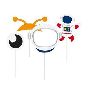 Plaquinhas Acessórios Festa Astronauta Sortida - 8 unidades - Cromus - Rizzo Festas