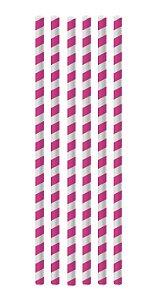 Canudo de Papel Listras Pink - 20 unidades - Cromus - Rizzo Festas