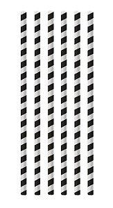 Canudo de Papel Listras Preto - 20 unidades - Cromus - Rizzo Festas