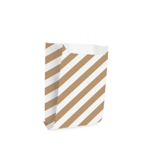 Saquinho de Papel - Listras Branco com Pardo - 50 unidades - Cromus - Rizzo Festas