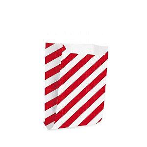Saquinho de Papel para Mini Lanche - Listras Vermelho - 50 unidades - Cromus - Rizzo Festas
