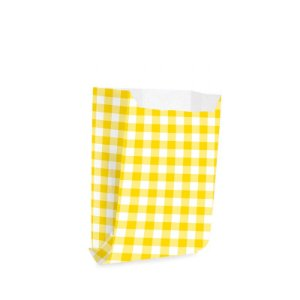 Saquinho de Papel para Mini Lanche - Xadrez Amarelo - 50 unidades - Cromus - Rizzo Festas