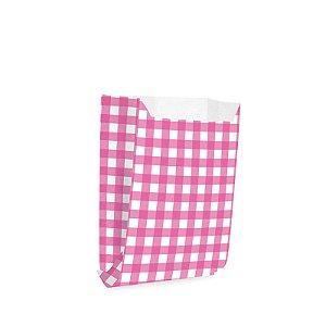 Saquinho de Papel para Mini Lanche - Xadrez Rosa Médio - 50 unidades - Cromus - Rizzo Festas