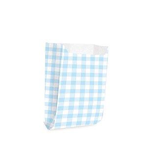 Saquinho de Papel para Mini Lanche - Xadrez Azul - 50 unidades - Cromus - Rizzo Festas