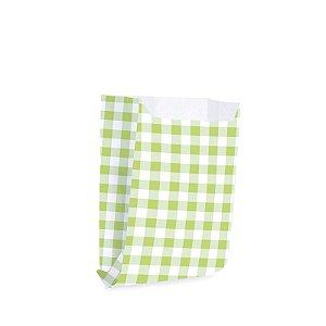 Saquinho de Papel para Mini Lanche - Xadrez Verde - 50 unidades - Cromus - Rizzo Festas