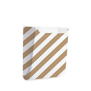 Saquinho de Papel 10,5x10cm - Listras Branco com Pardo - 50 unidades - Cromus - Rizzo Festas