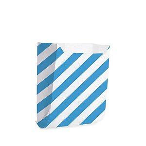 Saquinho de Papel para Mini Pizza e Hambúrguer M 10x10,5x4cm - Listras Azul - 50 unidades - Cromus - Rizzo Festas