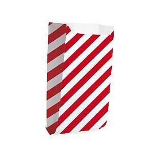 Saquinho de Papel para Pipoca e Hot Dog G 14x8x4cm Listras Vermelho - 50 unidades - Cromus - Rizzo Festas