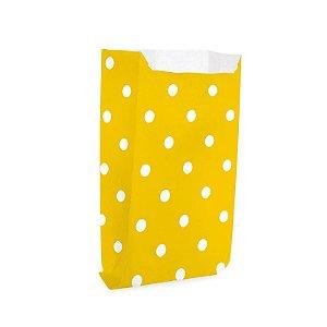 Saquinho de Papel para Pipoca - Poá Amarelo - 50 unidades - Cromus - Rizzo Festas
