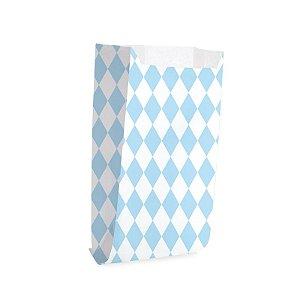 Saquinho de Papel para Pipoca - Losango Azul - 50 unidades - Cromus - Rizzo Festas