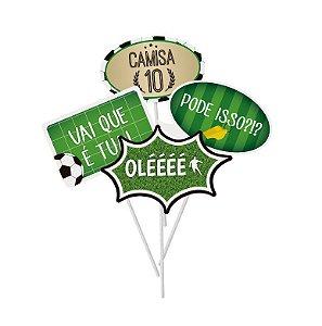 Plaquinhas Divertidas Festa Futebol - 8 unidades - Cromus - Rizzo Festas