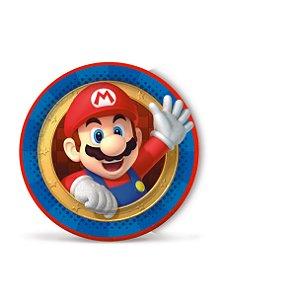 Prato de Papel Festa Super Mario - 08 unidades - Cromus - Rizzo Embalagens