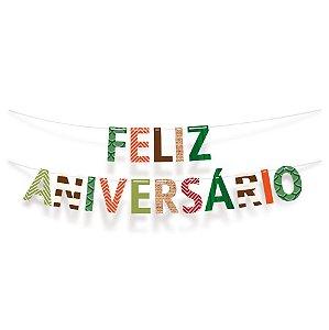 Faixa Feliz Aniversario Festa Dinossauro - Cromus - Rizzo Festas