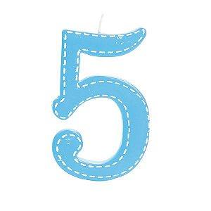 Vela de Aniversário nº5  Tracejada Branco G - 01 unidade - Cromus - Rizzo Festas