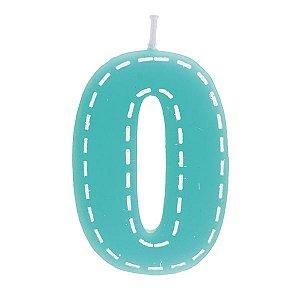 Vela de Aniversário nº0  Tracejada Turquesa P - 01 unidade - Cromus - Rizzo Festas