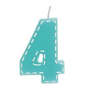Vela de Aniversário nº4  Tracejada Turquesa P - 01 unidade - Cromus - Rizzo Festas