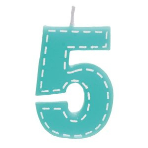 Vela de Aniversário nº5  Tracejada Turquesa P - 01 unidade - Cromus - Rizzo Festas