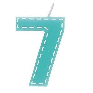 Vela de Aniversário nº7  Tracejada Turquesa P - 01 unidade - Cromus - Rizzo Festas
