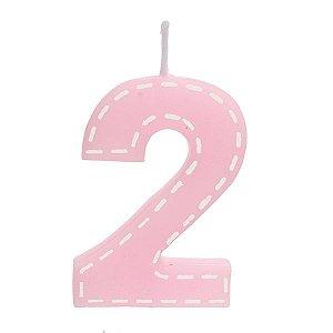 Vela de Aniversário nº2  Tracejada Rosa P - 01 unidade - Cromus - Rizzo Festas