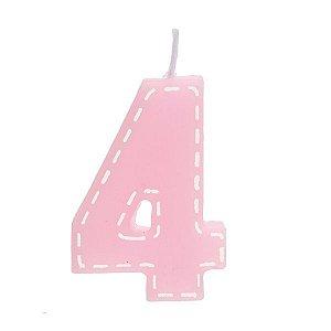 Vela de Aniversário nº4  Tracejada Rosa P - 01 unidade - Cromus - Rizzo Festas