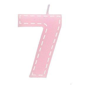 Vela de Aniversário nº7  Tracejada Rosa P - 01 unidade - Cromus - Rizzo Festas
