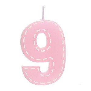 Vela de Aniversário nº9  Tracejada Rosa P - 01 unidade - Cromus - Rizzo Festas