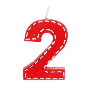 Vela de Aniversário nº2  Tracejada Vermelho P - 01 unidade - Cromus - Rizzo Festas