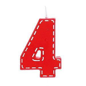 Vela de Aniversário nº4  Tracejada Vermelho P - 01 unidade - Cromus - Rizzo Festas