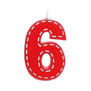 Vela de Aniversário nº6  Tracejada Vermelho P - 01 unidade - Cromus - Rizzo Festas